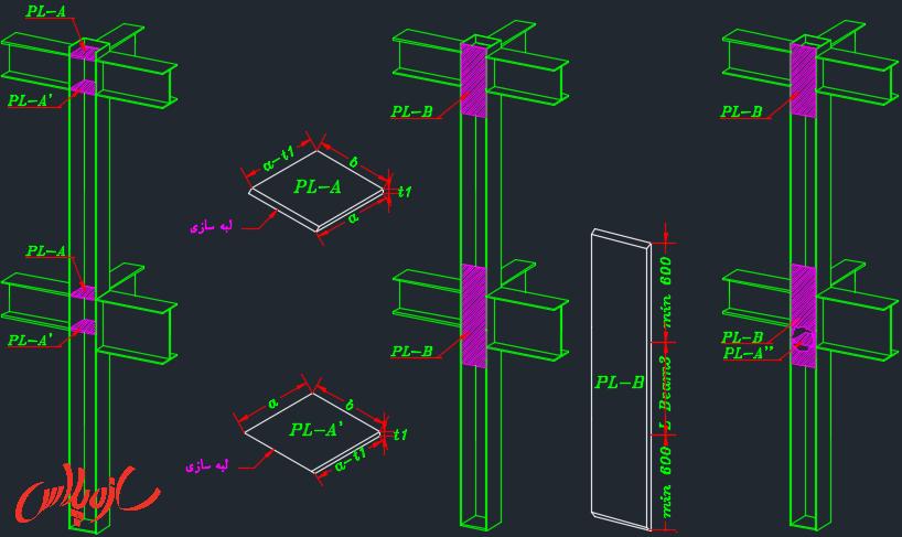 اجرای ورق پیوستگی در اتصال گیردار تیر به ستون باکس