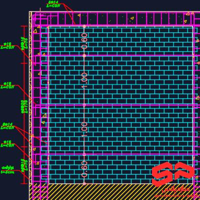 نقشه اتوکد ساختمانهای مصالح بنایی