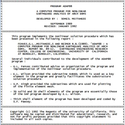 کدهای فرترن برنامه ADAP-88