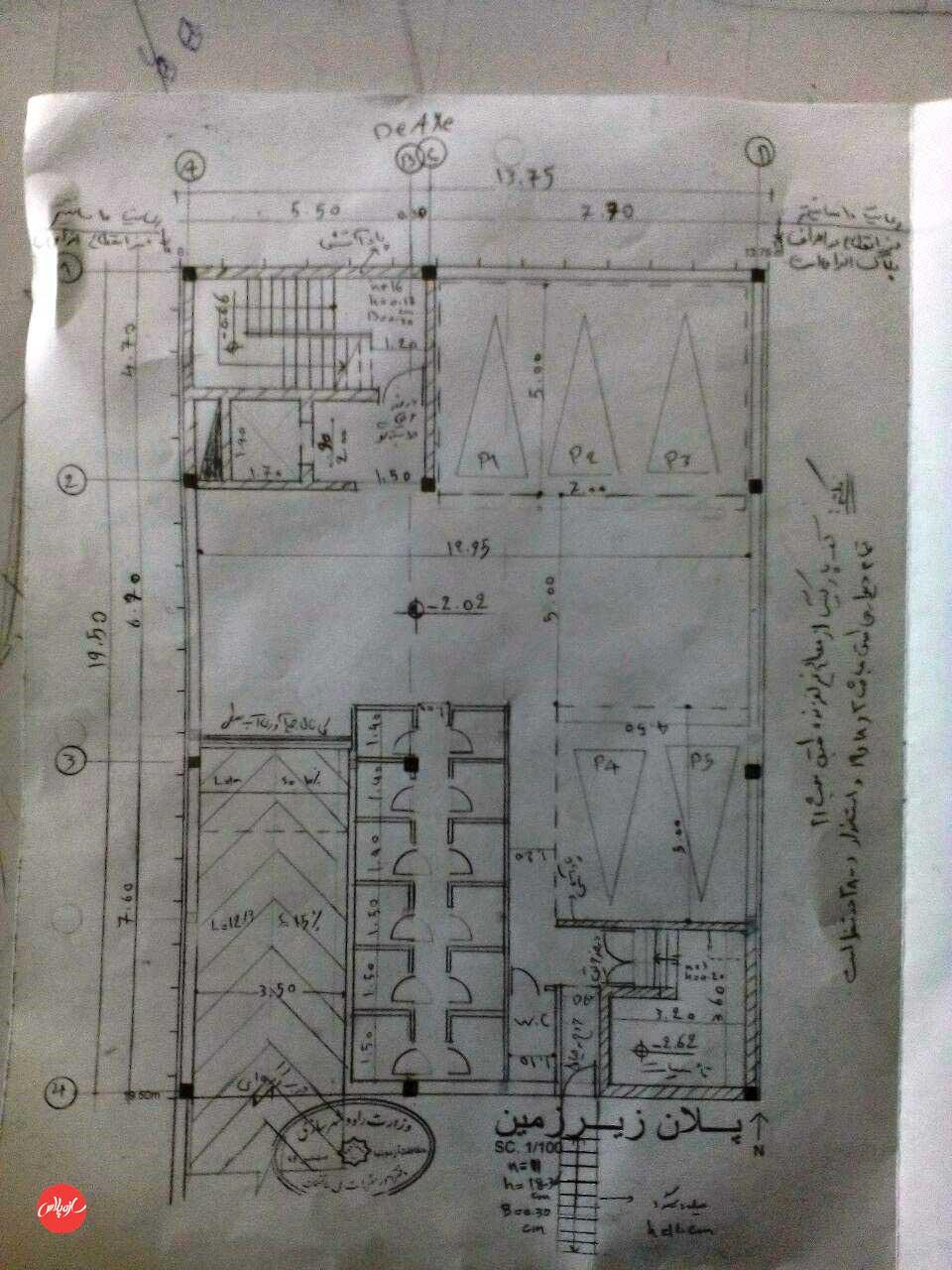 پلان حل شده طراحی معماری سر جلسه آزمون نظام مهندسی بهمن 94