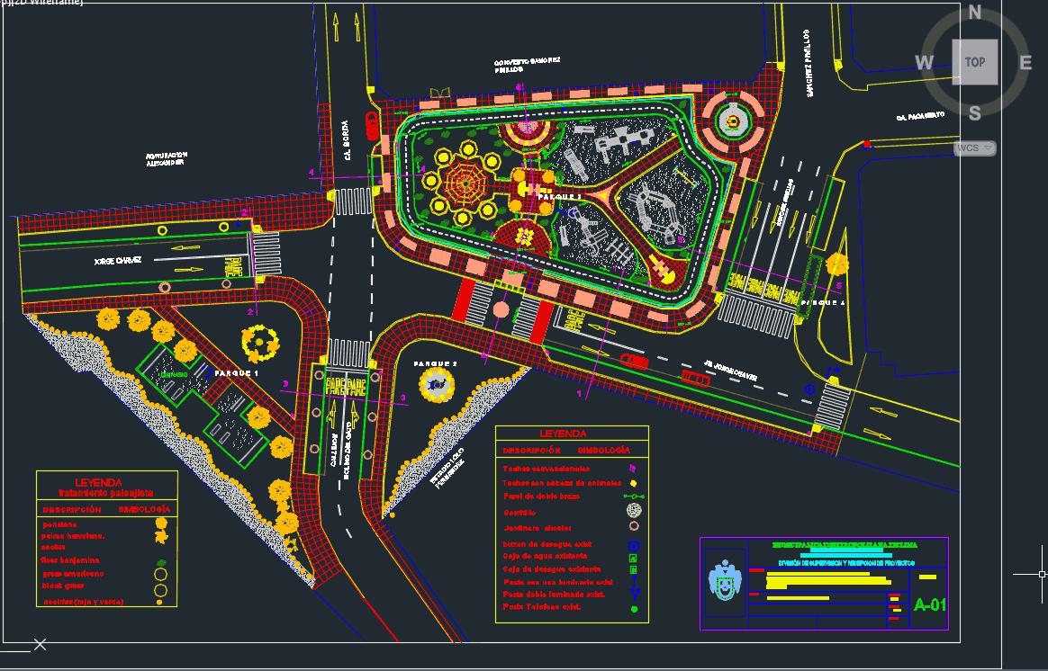 نقشه معماری پارک شهری با جزئیات