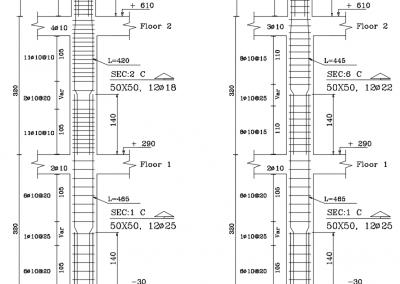 بزرگنمایی جزئیات ستون بتن آرمه جهت نمایش