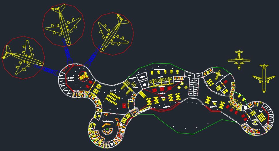 (پیشنمایش) پکیج اتوکد معماری فرودگاه