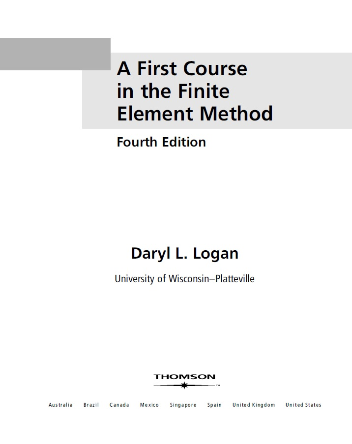 The First Course in the Finite Element Logan دانلود PDF