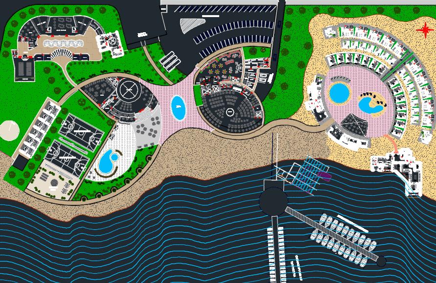 پلان اتوکد پارک ساحلی