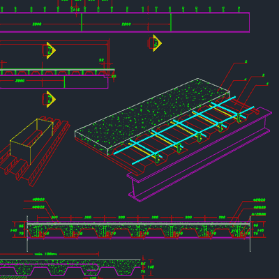 جزئیات اتوکد سقف عرشه فولادی