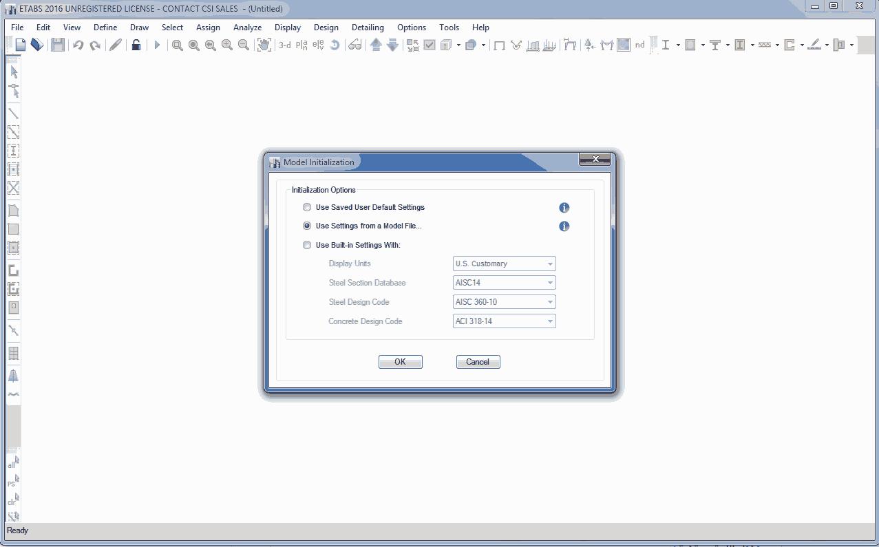 انتخاب Model File در شروع به کار مدلسازی