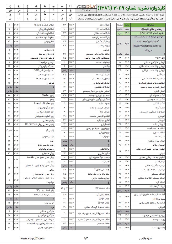 کلیدواژه نشریه ۱۱۹-۳ سیستم اطلاعات مکانی