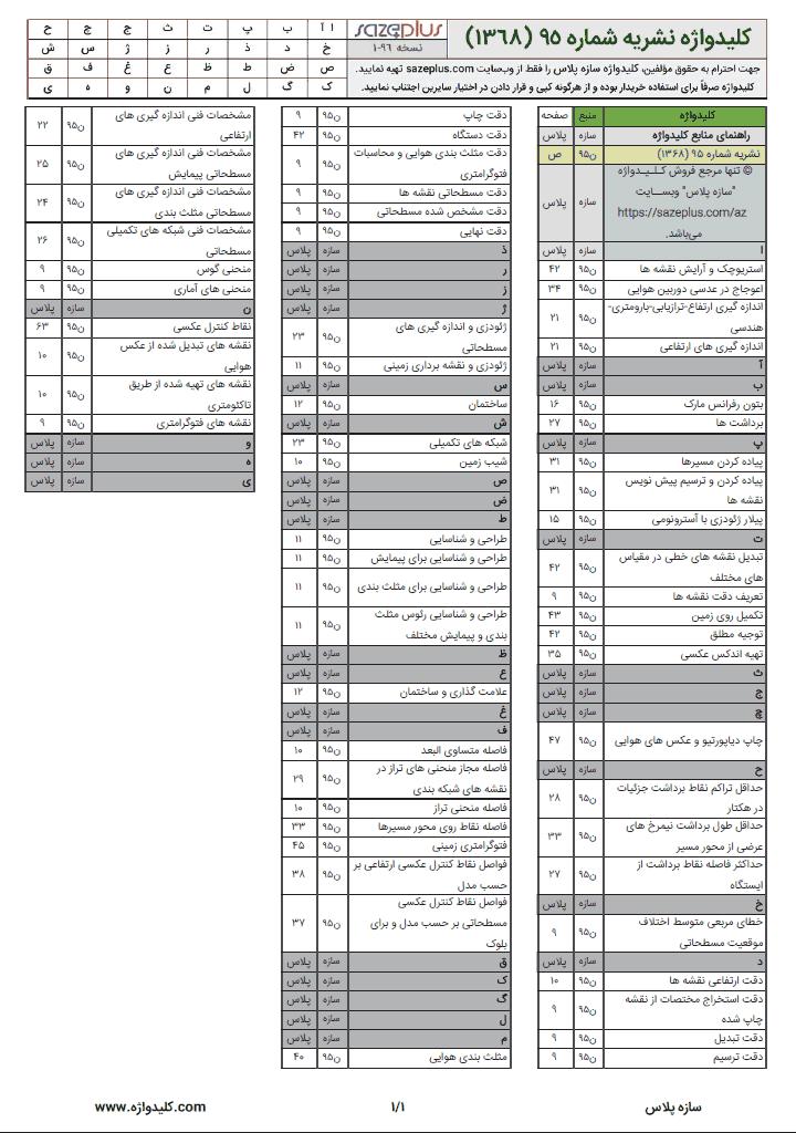 کلیدواژه نشریه ۹۵ مشخصات فنی نقشه برداری