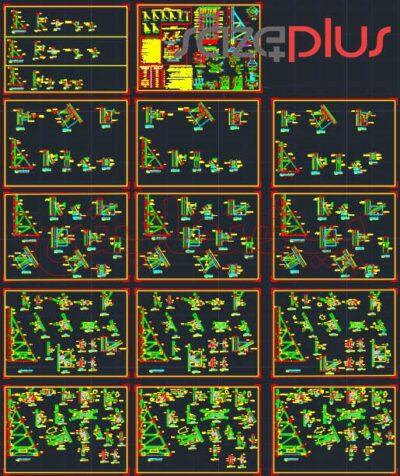 پکیج نقشه اتوکد سازه نگهبان خرپایی استاندارد ارتفاع ۴، ۷، ۱۰، ۱۳، ۱۶ متری در تیپ I,II,III