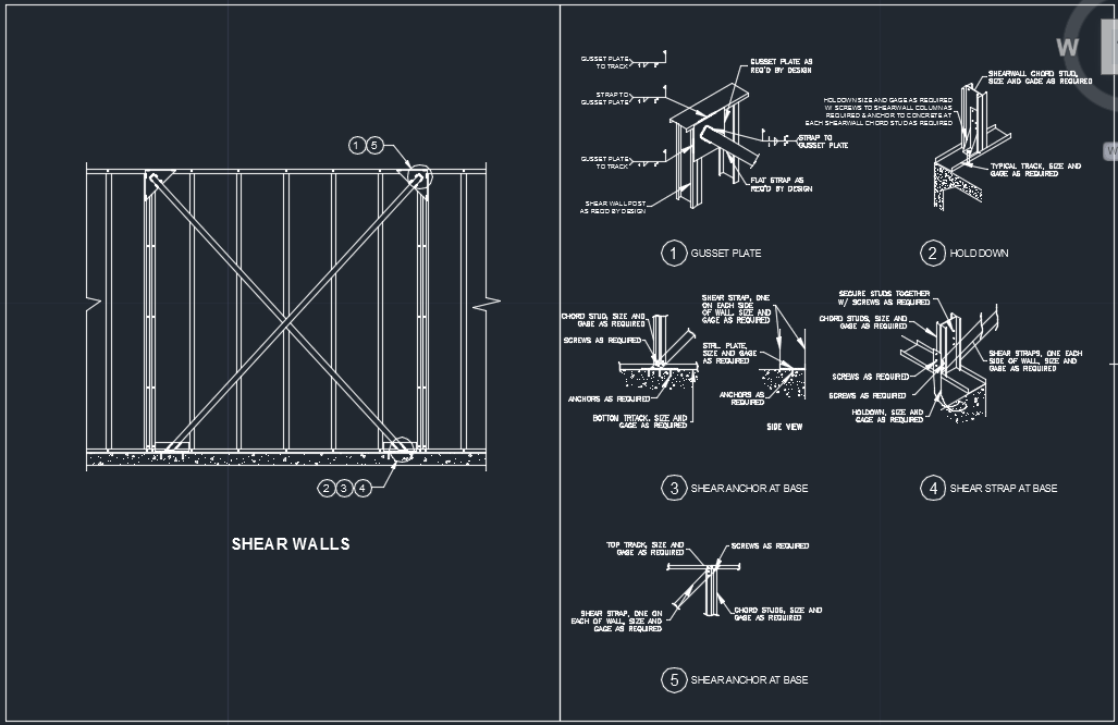 اتوکد جزئیات سازه LSF برای دیوارهای برشی LSF