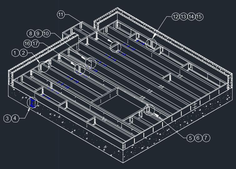 اتوکد جزئیات LSF برای کف های سازه ای