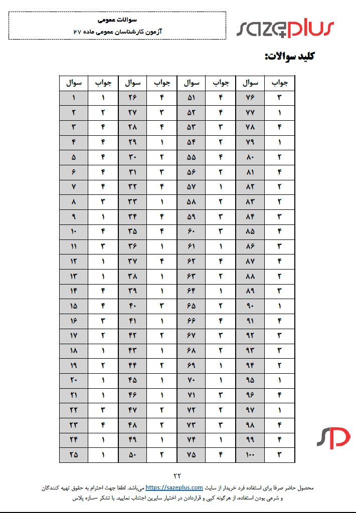 کلید نمونه سوالات عمومی آزمون ماده ۲۷