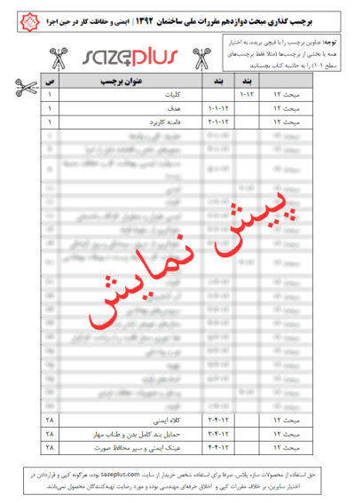 برچسب-گذاری-مبحث-دوازدهم-مقررات-ملی-ساختمان-۱۳۹۲-ایمنی-و-حفاظت-کار-در-حین-اجرا