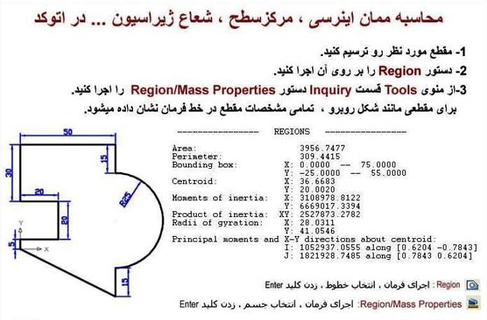محاسبه ممان اینرسی، مرکز سطح، شعاع ژیراسیون در اتوکد