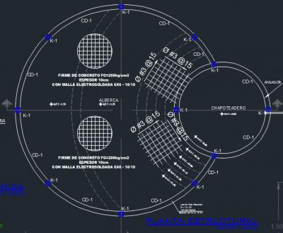پیشنمایش نقشه اتوکد استخر دایرهای با جزئیات
