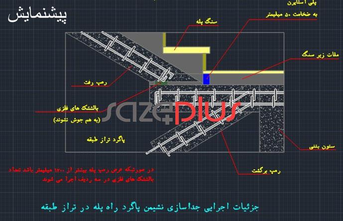جزئیات اجرایی جداسازی نشیمن پاگرد راه پله در تراز طبقه