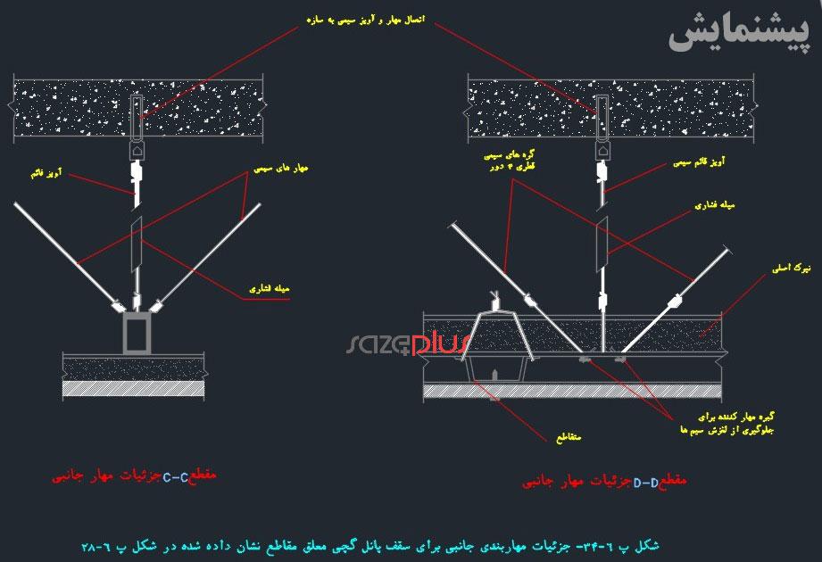 جزئیات مهاربندی جانبی برای سقف پانل گچی معلق
