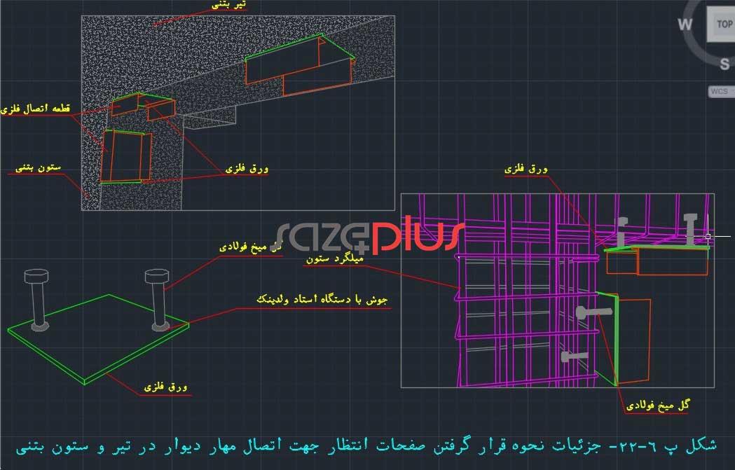 جزییات نحوه قرارگرفتن صفحات انتظار جهت اتصال مهار دیوار در تیر و ستون بتنی