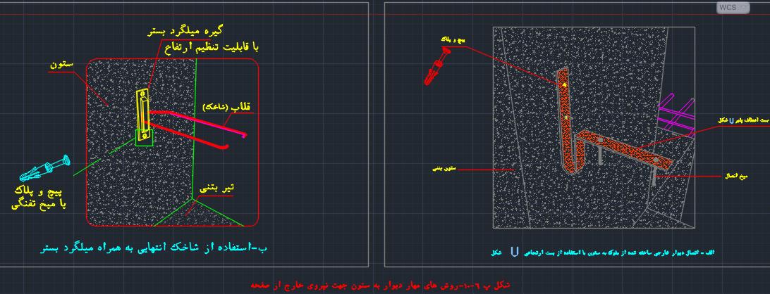 شکل پ6-10 روش های مهار دیوار به ستون جهت نیروی خارج از صفحه