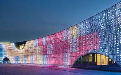 نورپردازی نمای ساختمان با وال واشر ال ای دی