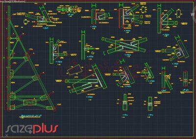 نقشه اتوکد سازه نگهبان خرپایی استاندارد ارتفاع ۱۶ متری در تیپ I,II,III