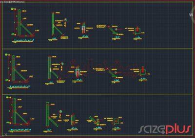 پیشنمایش نقشه اتوکد سازه نگهبان خرپایی استاندارد ارتفاع ۴ متری در تیپ I,II,III