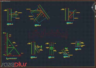 پیشنمایش نقشه اتوکد سازه نگهبان خرپایی استاندارد ارتفاع ۷ متری در تیپ I,II,III