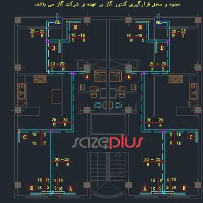 نقشه کامل تاسیسات مکانیکی و برقی ساختمان مسکونی دو واحده ۳ طبقه